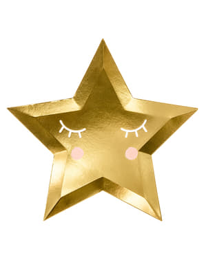 Csillag alakú tányérok szempillákkal és rózsával (27 cm) - Little Star