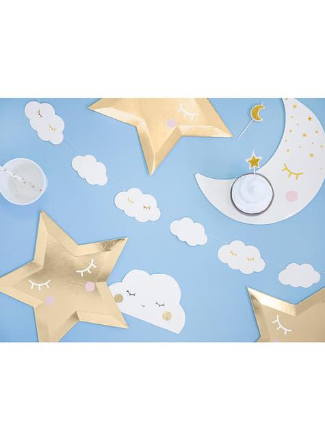6 platos con forma de estrella con pestañas y coloretes (27cm) - Golden Sky - barato