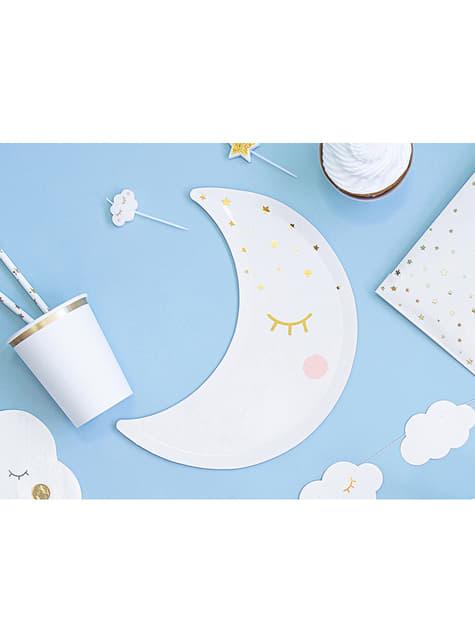 6 platos con forma de luna con pestañas y coloretes (24cm) - Golden Sky