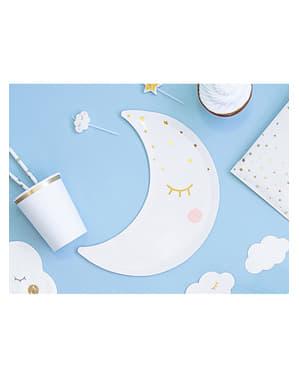 Assiettes en forme de lune avec cils et blush - Little Star