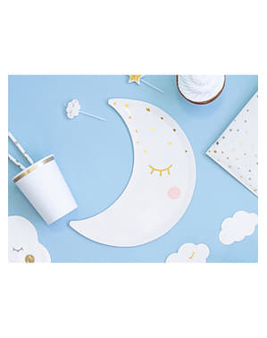 Moon-Shaped Plates with Eyelashes and Rosy Chee (24 cm) - Little Star