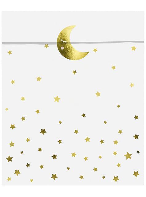 6 Stjerne & Måne Festposer - Golden Sky