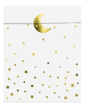 6 Stjerne & Måne Festposer - Gyllen Sky