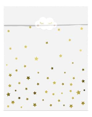 6 Papiertüten für Süßigkeiten mit Sternen und Monden - Golden Sky