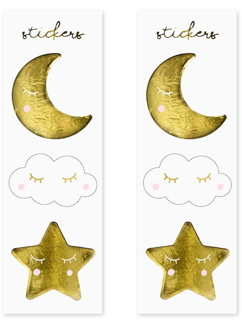 6 bolsinhas com estrelas e luas - Golden Sky