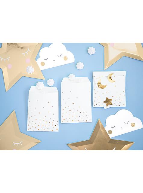 6 bolsas de chucherías con estrellas y lunas - Golden Sky - comprar