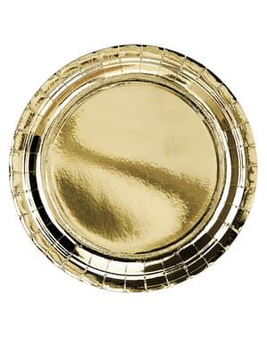Golden Round Plates - 6 Count