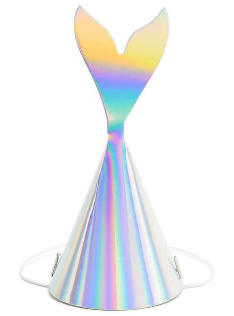 Gorritos cola de sirena iridiscente - Iridescent Mermaid - 6 unidades