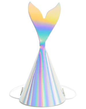 6 gorritos de fiesta cola de sirena iridiscente - Iridescent Mermaid