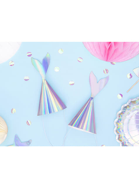 6 Meerjungfrauenflossen Hüte schimmernd - Iridescent Mermaid