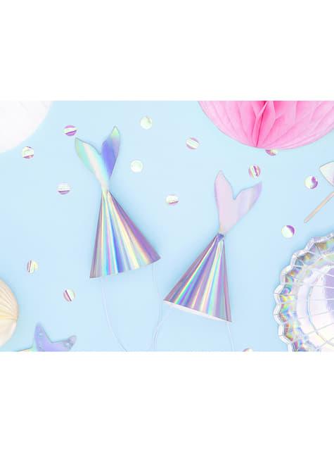 Gorritos cola de sirena iridiscente - Iridescent Mermaid - 6 unidades - original