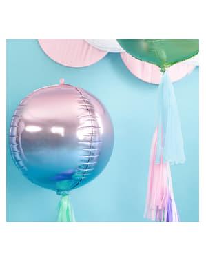 Globo con forma de bola azul y violeta iridiscente - Iridescent Mermaid