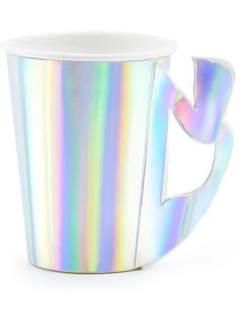 Vasos de papel con asa de cola de sirena iridiscente - Iridescent Mermaid - 6 unidades