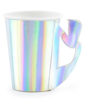 Pahare de hârtie cu mâner coadă de sirenă iridescentă – Iridescent Marmaid – 6 bucăți