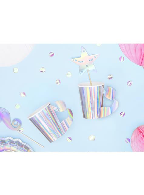 Vasos de papel con asa de cola de sirena iridiscente - Iridescent Mermaid - 6 unidades - para tus fiestas