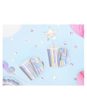 Papírové kelímky s držíkem z vílího ocasu, lesklých - Iridescent Mermaid - 6 count