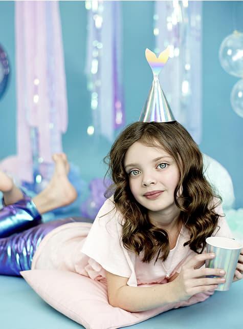 Vasos de papel con asa de cola de sirena iridiscente - Iridescent Mermaid - 6 unidades - comprar
