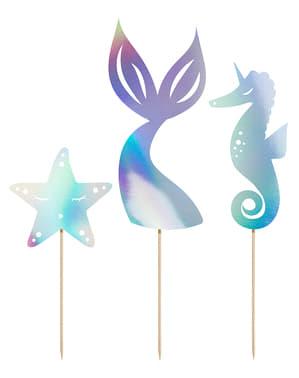 Decoração para bolo cauda de sereia iridescente - Iridescent Mermaid