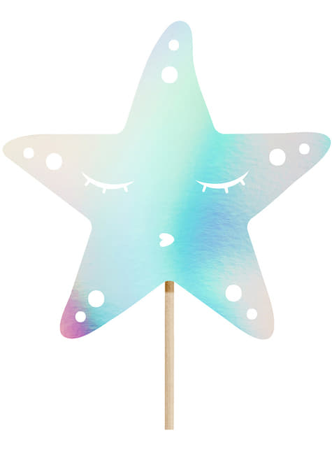 Decoración para tarta cola de sirena iridiscente- Iridescent Mermaid - para tus fiestas