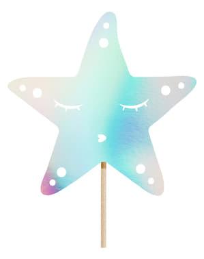 Decoración para tarta cola de sirena iridiscente- Iridescent Mermaid