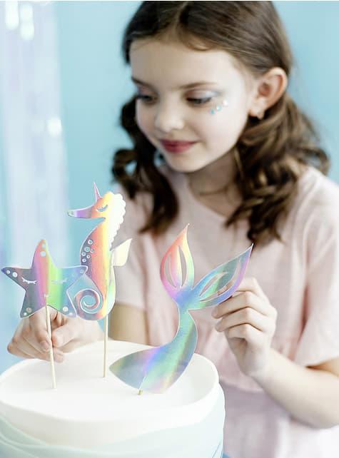 Decoración para tarta cola de sirena iridiscente- Iridescent Mermaid - barato
