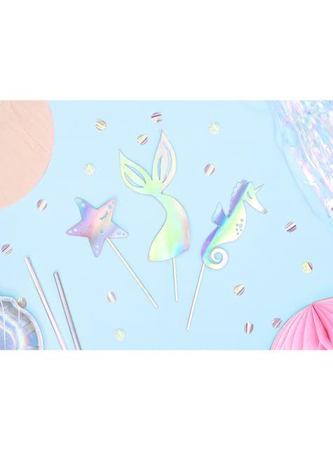 Décoration pour gâteau queue de sirène iridescent - Iridescent Mermaid