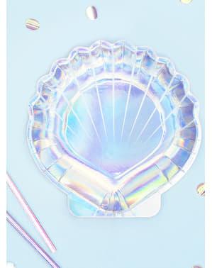 Pratos com forma de concha iridescente - Iridescent Mermaid