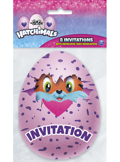 8 invitaciones Hatchimals - para tus fiestas