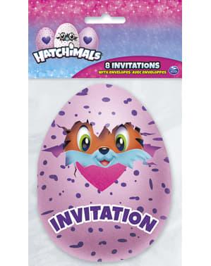 8 convites Hatchimals