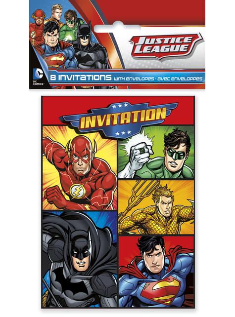 8 invitaciones Liga de la Justicia - para tus fiestas