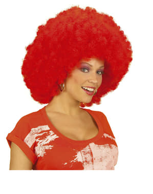 Peruca vermelha de discoteca para mulher