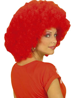 Red disco wig for a woman