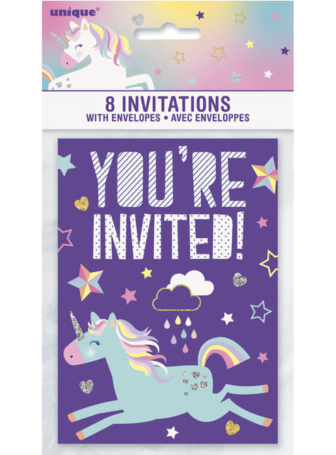 8 invitaciones de unicornio - Happy Unicorn - para tus fiestas