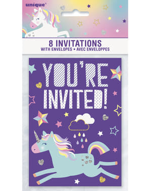 8 invitations fête Licorne