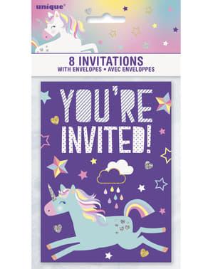 8 invitații petrecere Unicorn - Happy Unicorn