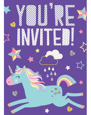 8 Unicorn Party Invitations - Happy Unicorn