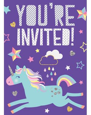 8 Unicorn Party Запрошення - Щасливий Unicorn