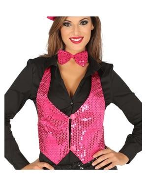 Fuchsia sequin waistcoat for women