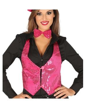 Pinke Paillettenweste für Frauen