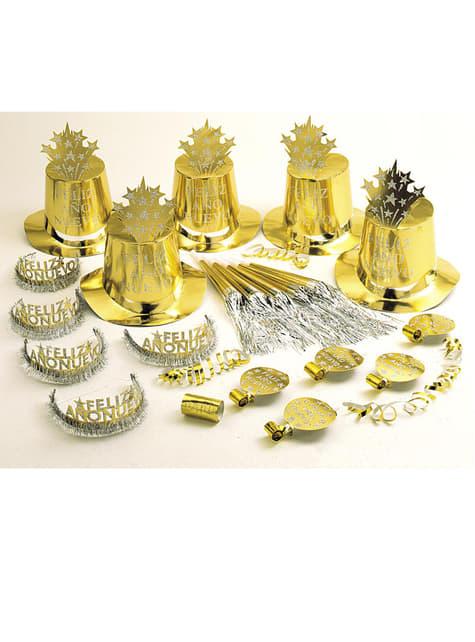 Kit fiesta Feliz Año Nuevo dorado para 10 personas