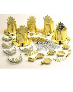 Kit petrecer Un An Nou Fericit auriu pentru 10 persoane