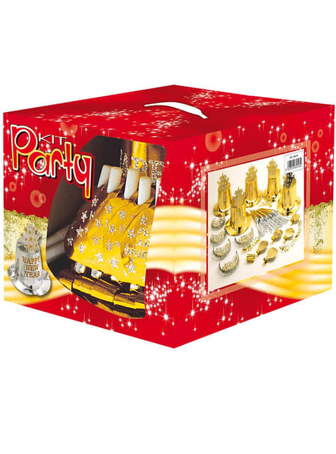 Kit fiesta Feliz Año Nuevo dorado para 10 personas - para tus fiestas