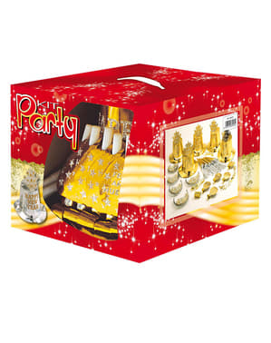 Golden Feliz Ano Nuevo party kit for 10 people