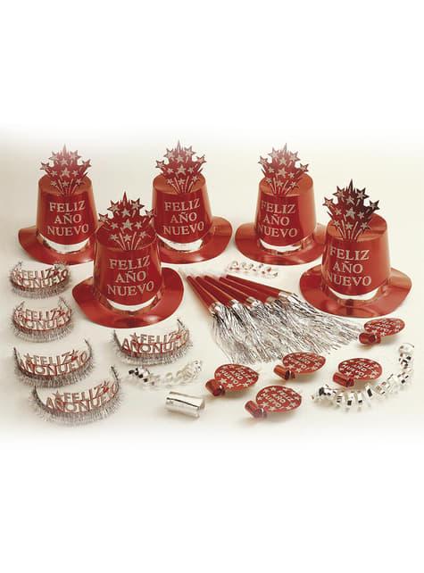 Kit fiesta Feliz Año Nuevo rojo para 10 personas