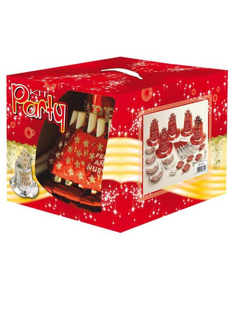 Kit fiesta Feliz Año Nuevo rojo para 10 personas - para tus fiestas
