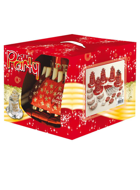 Red Feliz Ano Nuevo party kit for 10 people