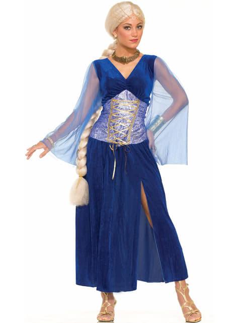 Disfraz de reina de dragones azul para mujer