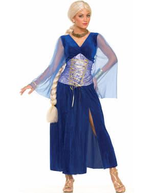 Fato de rainha de dragões azul para mulher