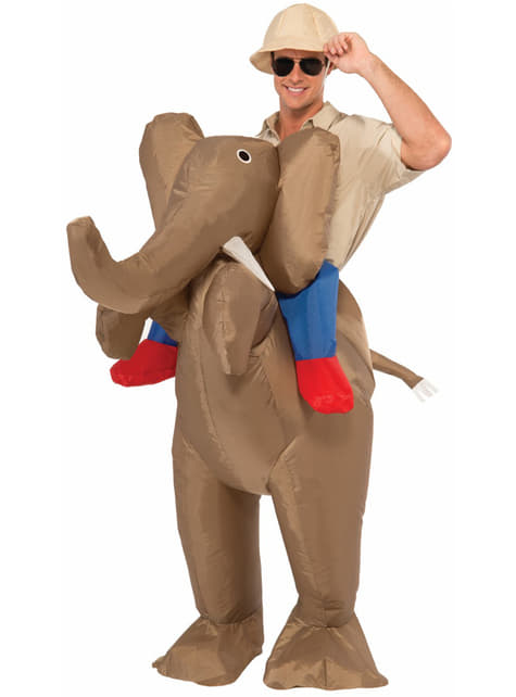 Disfraz de cazador sobre elefante para hombre