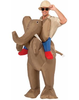 Puhallettava Metsästäjä Ratsastamassa Elefantilla Asu Miehille